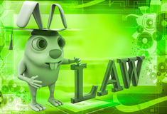 3d rabbit holding law degree illustration Royalty Free Stock Photography