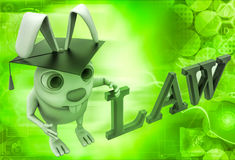 3d rabbit holding law degree illustration Stock Images