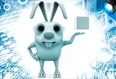 3d rabbit holding magic cube in hand illustration Royalty Free Stock Photo