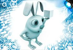 3d rabbit holding magic cube in hand illustration Stock Images