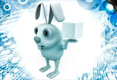 3d rabbit holding magic cube in hand illustration Royalty Free Stock Photos