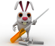 3d rabbit holding screw driver and with nut bold concept Stock Image