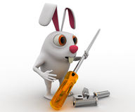 3d rabbit holding screw driver and with nut bold concept Stock Photos