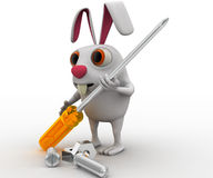 3d rabbit holding screw driver and with nut bold concept Stock Images