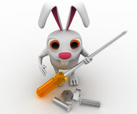 3d rabbit holding screw driver and with nut bold concept Royalty Free Stock Photo