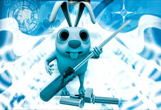 3d rabbit holding screw driver and with nut bold illustration Stock Photography