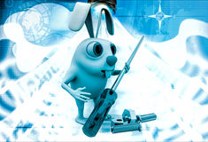 3d rabbit holding screw driver and with nut bold illustration Stock Images