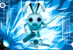 3d rabbit holding screw driver and with nut bold illustration Stock Photo