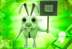 3d rabbit holding sign board with stick note illustration Stock Photography