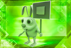 3d rabbit holding sign board with stick note illustration Stock Photos