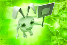 3d rabbit holding sign board with stick note illustration Royalty Free Stock Images