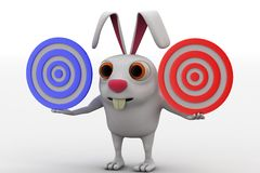 3d rabbit holding two red and blue target in hand concept Stock Photo