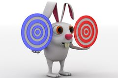 3d rabbit holding two red and blue target in hand concept Stock Images
