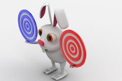 3d rabbit holding two red and blue target in hand concept Royalty Free Stock Photography