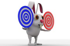 3d rabbit holding two red and blue target in hand concept Stock Photos