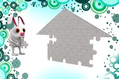 3d rabbit solving home puzzle illustration Royalty Free Stock Image