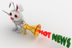 3d rabbit with hot news golden speaker concept Royalty Free Stock Photos