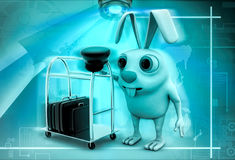 3d rabbit hotel maid illustration Royalty Free Stock Image