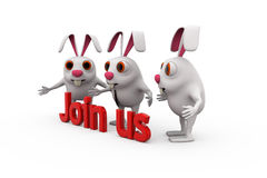 3d rabbit join us concept Stock Photo