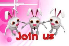3d group of rabbit join us illustration Stock Images