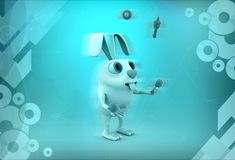 3d rabbit juggle illustration Royalty Free Stock Images