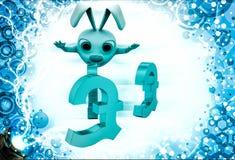 3d rabbit jump on euro symbol illustration Stock Photo