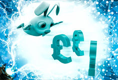 3d rabbit jump on euro symbol illustration Royalty Free Stock Images