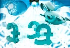 3d rabbit jump on euro symbol illustration Royalty Free Stock Photos