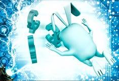 3d rabbit jump on euro symbol illustration Royalty Free Stock Photo