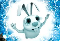 3d rabbit jump in happiness illustration Stock Photography