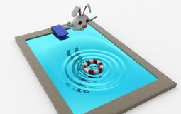 3d rabbit jump in pool concept Stock Photos