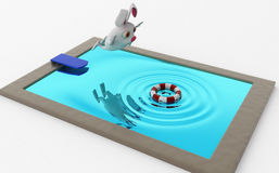 3d rabbit jump in pool concept Stock Image