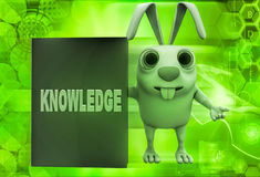 3d rabbit with knowledge book illustration Stock Photography