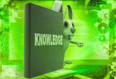 3d rabbit with knowledge book illustration Royalty Free Stock Photography