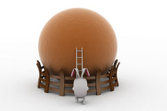 3d rabbit ladder to top concept Royalty Free Stock Images