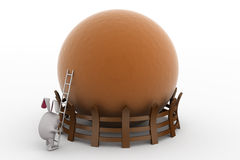 3d rabbit ladder to top concept Stock Photo