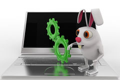 3d rabbit with laptop setting concept Stock Photography