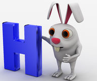 3d rabbit  with latter H in blue color concept Royalty Free Stock Photo