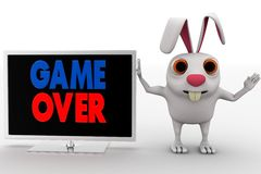 3d rabbit with lcd displaying game over text concept Royalty Free Stock Photos