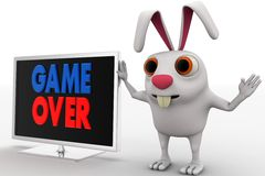3d rabbit with lcd displaying game over text concept Stock Photography