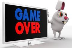 3d rabbit with lcd displaying game over text concept Royalty Free Stock Photo