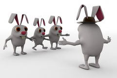 3d rabbit leader concept Stock Photography