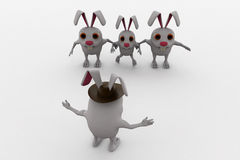 3d rabbit leader concept Royalty Free Stock Image