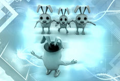 3d rabbit leader illustration Stock Photography