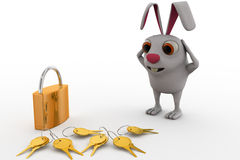 3d rabbit with lock and key concept Stock Photography