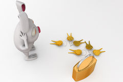 3d rabbit with lock and key concept Royalty Free Stock Image