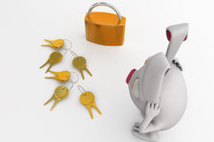 3d rabbit with lock and key concept Stock Photo
