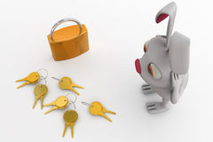 3d rabbit with lock and key concept Royalty Free Stock Photography