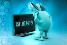 3d rabbit looking bad news on television illustration Stock Photography