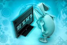 3d rabbit looking bad news on television illustration Royalty Free Stock Images